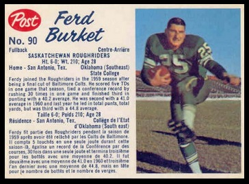 Ferd Burket 1962 Post CFL football card