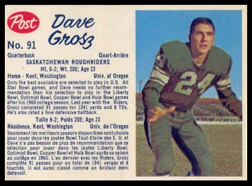 Dave Grosz 1962 Post CFL football card