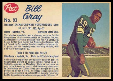 Billy Gray 1962 Post CFL football card
