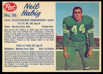Neil Habig 1962 Post CFL football card