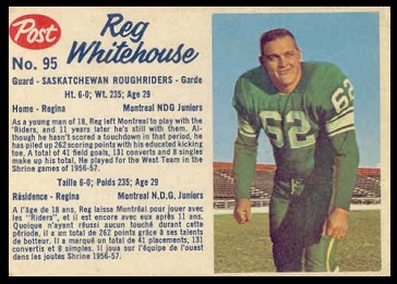 Reg Whitehouse 1962 Post CFL football card
