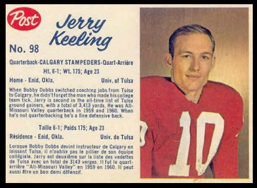 Jerry Keeling 1962 Post CFL football card