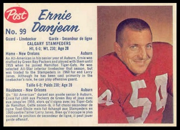 Ernie Danjean 1962 Post CFL football card