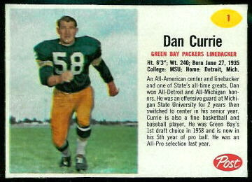Dan Currie 1962 Post Cereal football card