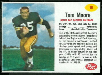 Tom Moore 1962 Post Cereal football card