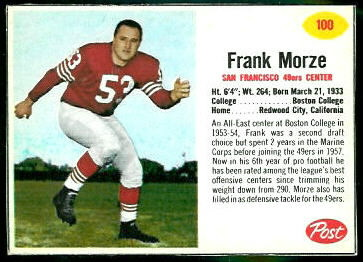 Frank Morze 1962 Post Cereal football card