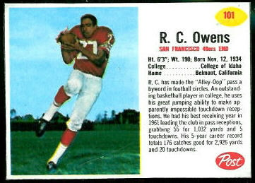 R.C. Owens 1962 Post Cereal football card