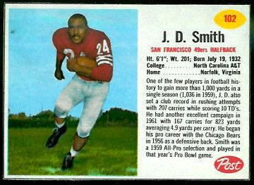 J.D. Smith 1962 Post Cereal football card
