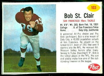 Bob St. Clair 1962 Post Cereal football card