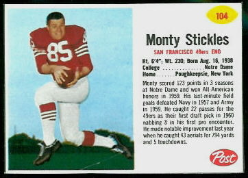 Monty Stickles 1962 Post Cereal football card
