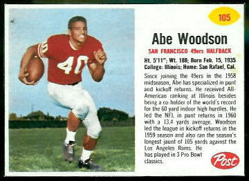 Abe Woodson 1962 Post Cereal football card