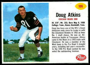 Doug Atkins 1962 Post Cereal football card
