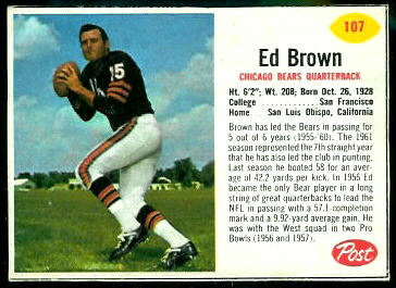 Ed Brown 1962 Post Cereal football card