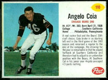 Angelo Coia 1962 Post Cereal football card