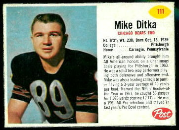 Mike Ditka 1962 Post Cereal football card