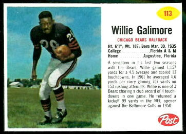 Willie Galimore 1962 Post Cereal football card