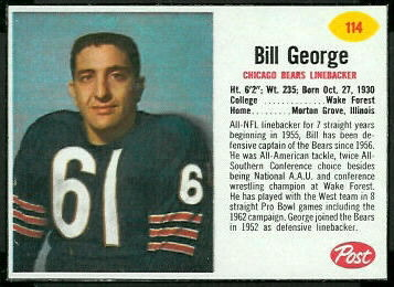 Bill George 1962 Post Cereal football card