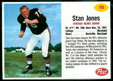 Stan Jones 1962 Post Cereal football card