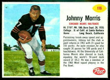 Johnny Morris 1962 Post Cereal football card