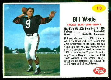 Bill Wade 1962 Post Cereal football card