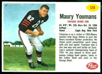 Maury Youmans 1962 Post Cereal football card