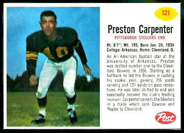 Preston Carpenter 1962 Post Cereal football card
