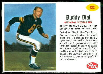 Buddy Dial 1962 Post Cereal football card