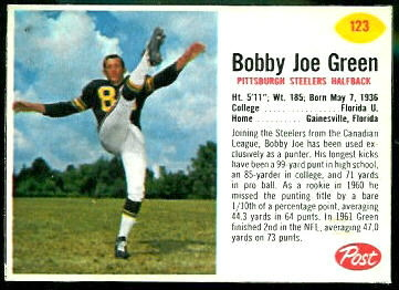Bobby Joe Green 1962 Post Cereal football card