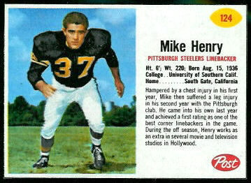 Mike Henry 1962 Post Cereal football card