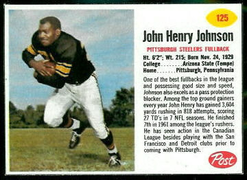 John Henry Johnson 1962 Post Cereal football card
