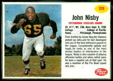 John Nisby 1962 Post Cereal football card
