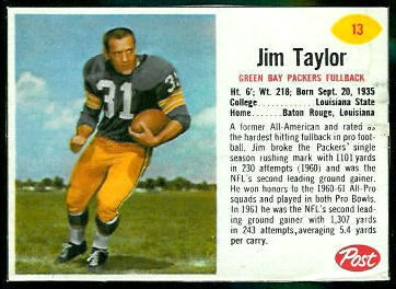 Jim Taylor 1962 Post Cereal football card