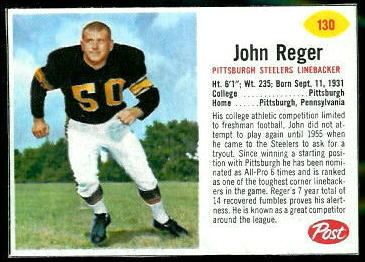 John Reger 1962 Post Cereal football card
