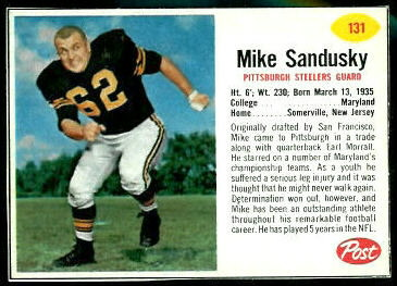 Mike Sandusky 1962 Post Cereal football card