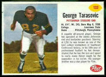 George Tarasovic 1962 Post Cereal football card