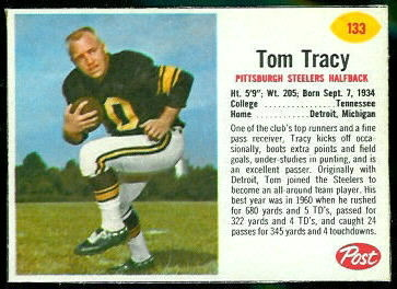 Tom Tracy 1962 Post Cereal football card