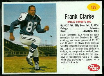 Frank Clarke 1962 Post Cereal football card
