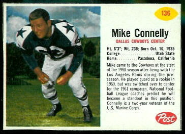 Mike Connelly 1962 Post Cereal football card