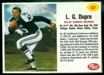 L.G. Dupre 1962 Post Cereal football card