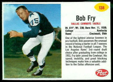 Bob Fry 1962 Post Cereal football card