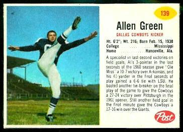 Allen Green 1962 Post Cereal football card