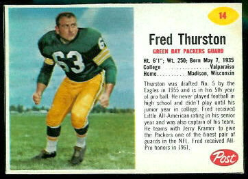 Fuzzy Thurston 1962 Post Cereal football card