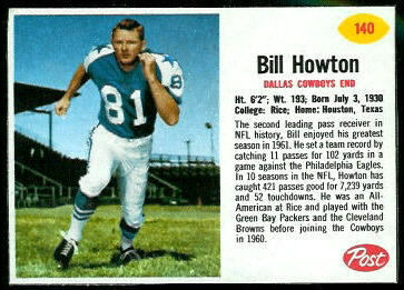 Bill Howton 1962 Post Cereal football card