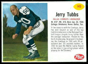 Jerry Tubbs 1962 Post Cereal football card