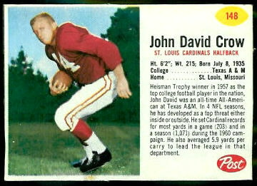 John David Crow 1962 Post Cereal football card