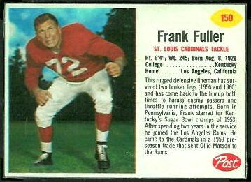 Frank Fuller 1962 Post Cereal football card