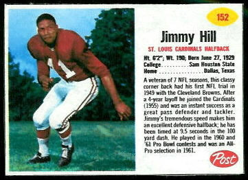 Jimmy Hill 1962 Post Cereal football card