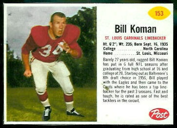 Bill Koman 1962 Post Cereal football card
