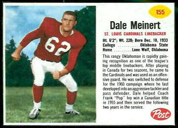Dale Meinert 1962 Post Cereal football card