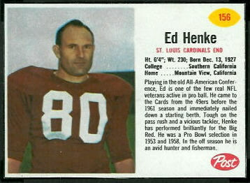 Ed Henke 1962 Post Cereal football card